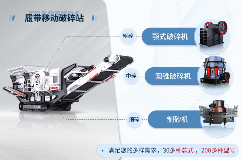履带式移动破碎站可以搭配粗、中、细碎设备,满足客户的不同生产需求